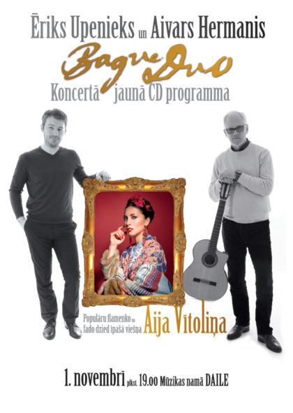 Bague Duo duets un īpašā viešņa Aija Vītoliņa koncertā 1. novembrī